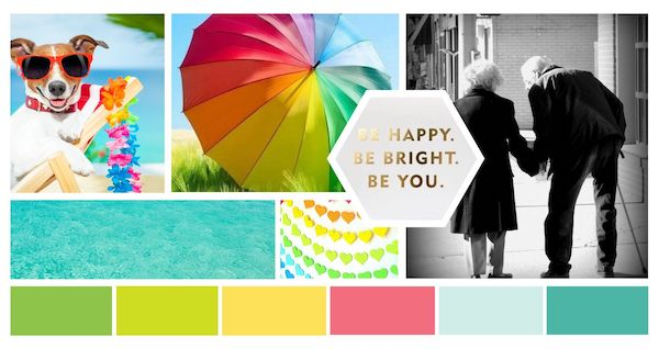 Mood board showing bright and cheerful colors