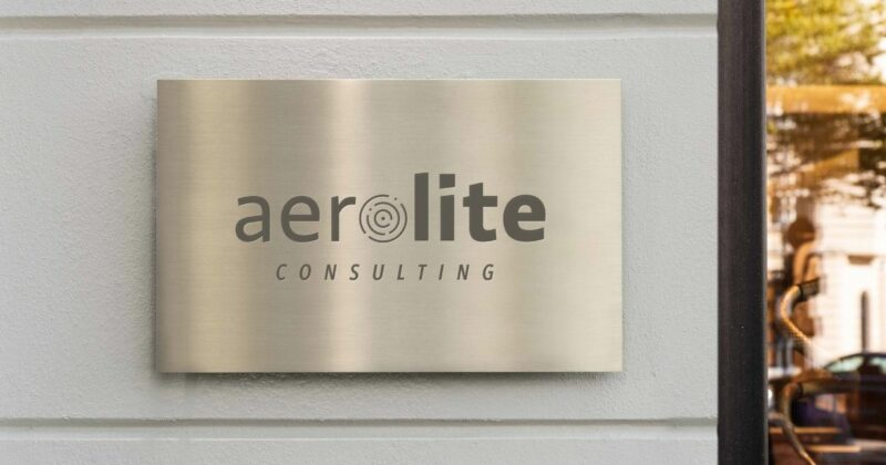 Aerolite Consulting logo shown on a sign mockup