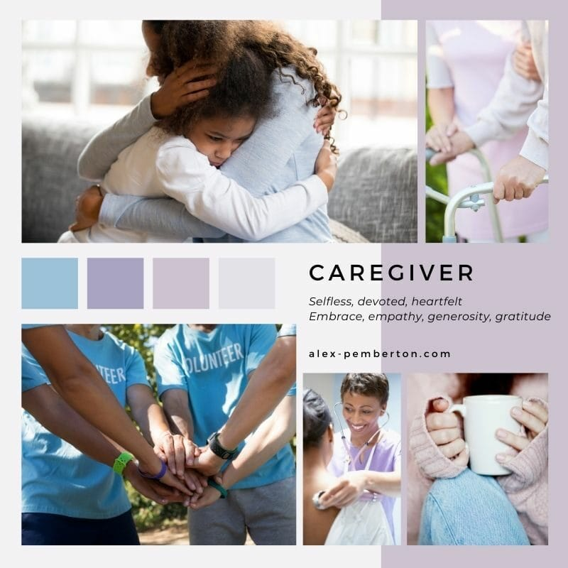 Inspiration board showing the Caregiver archetype in action