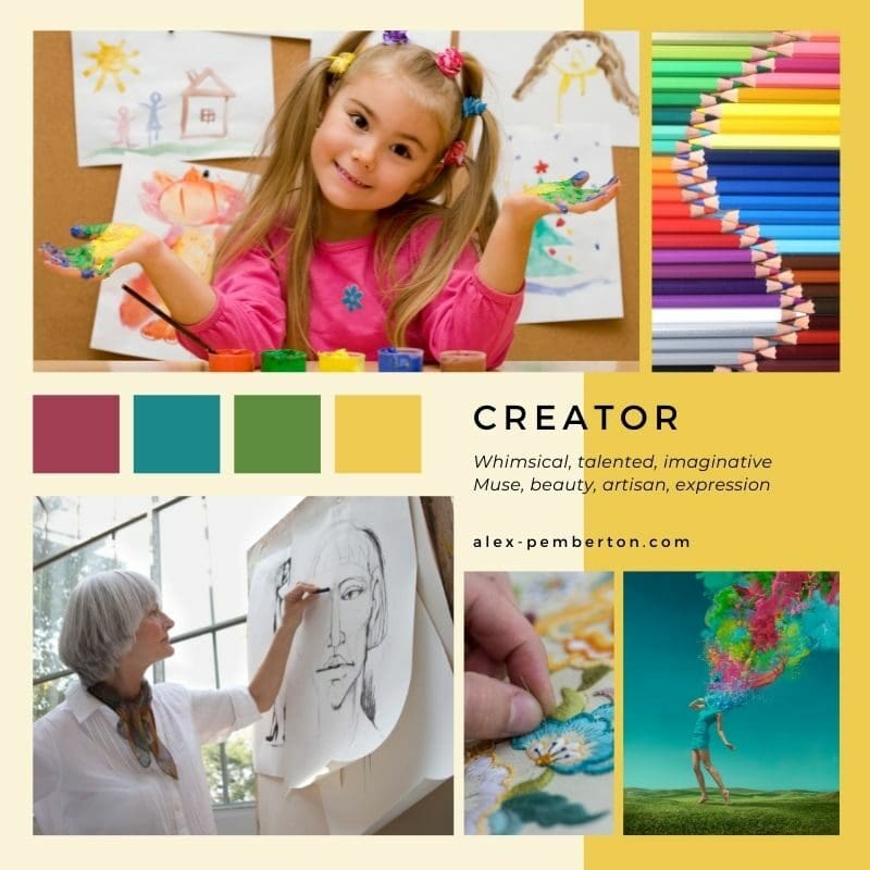 Inspiration board showing the Creator archetype in action