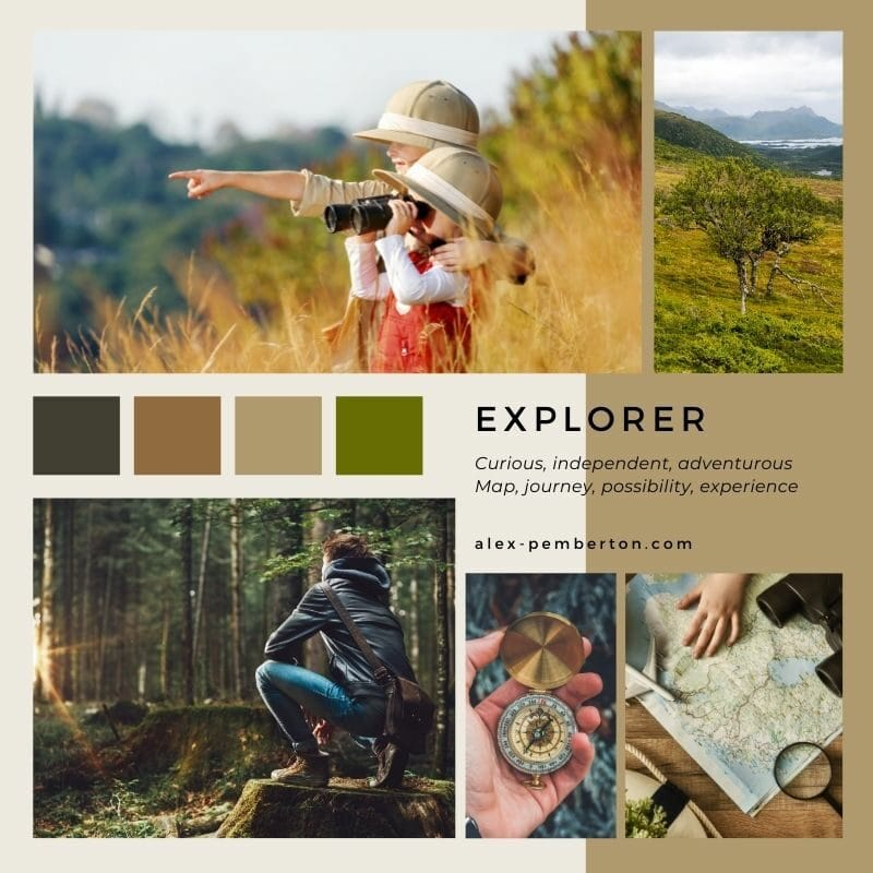 Inspiration board showing the Explorer archetype in action