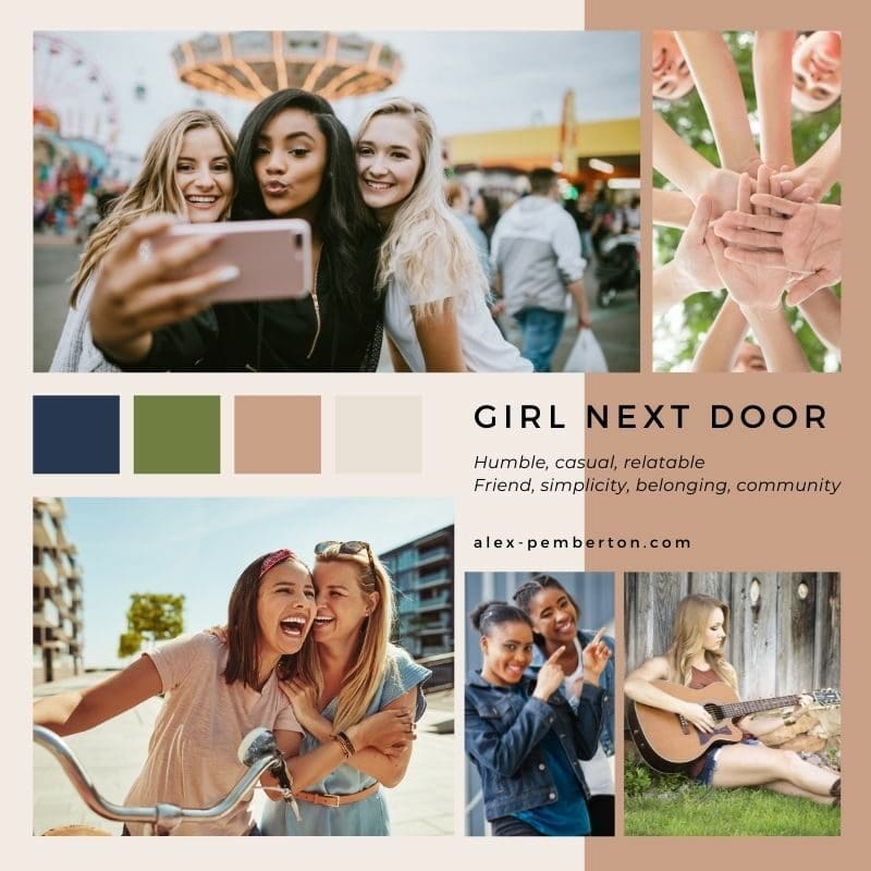 Inspiration board showing the Girl/Guy Next Door archetype in action