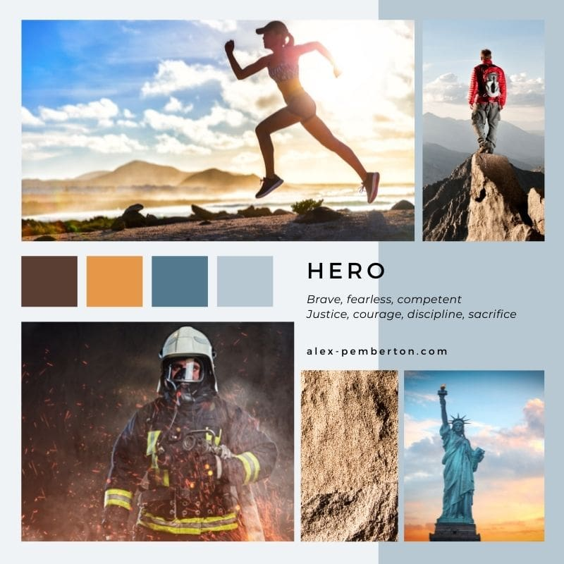 Inspiration board showing the Hero archetype in action