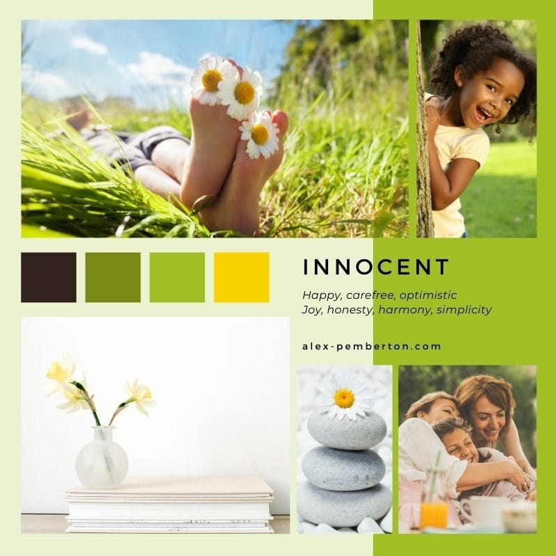 Inspiration board showing the Innocent archetype in action