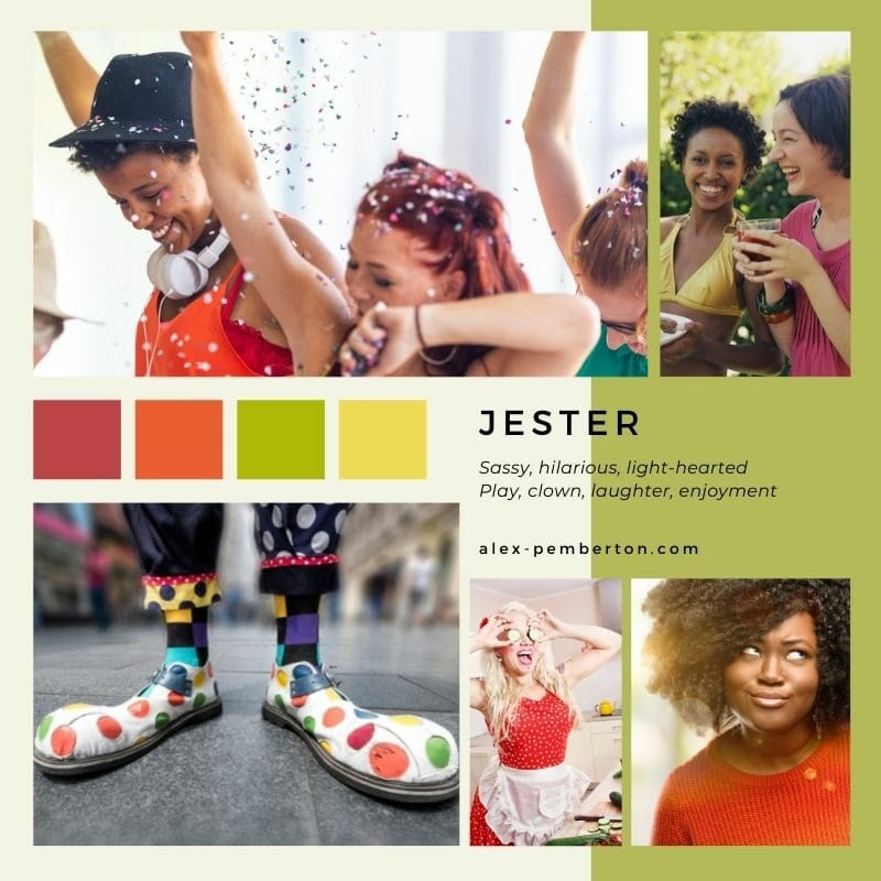Inspiration board showing the Jester archetype in action