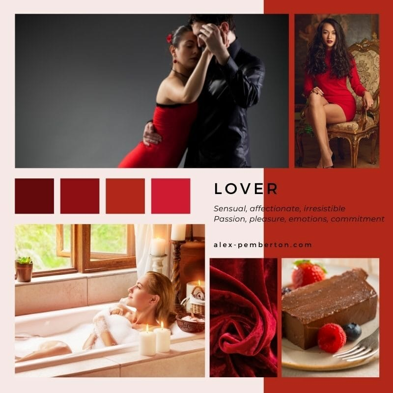 Inspiration board showing the Lover archetype in action