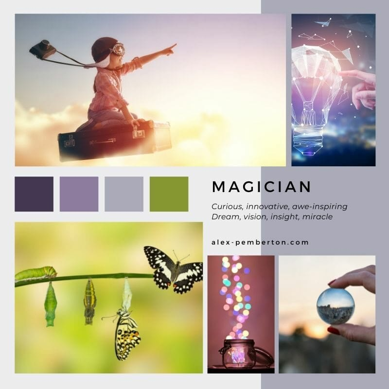 Inspiration board showing the Magician archetype in action