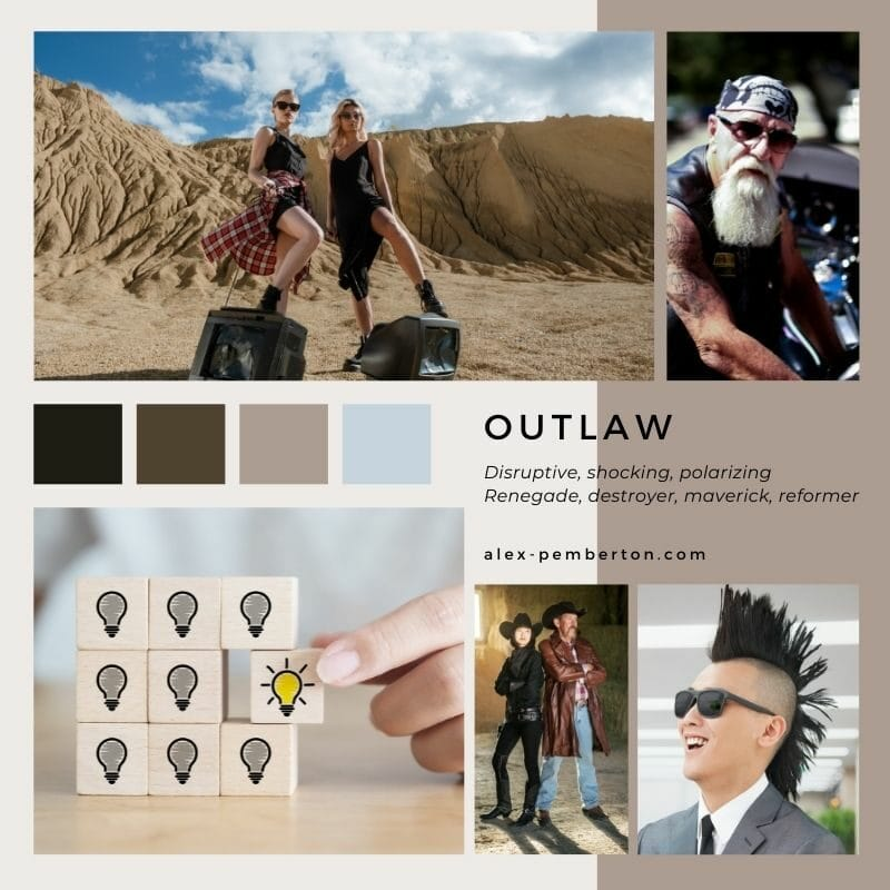 Inspiration board showing the Outlaw archetype in action