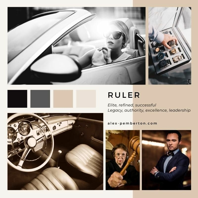 Inspiration board showing the Ruler archetype in action