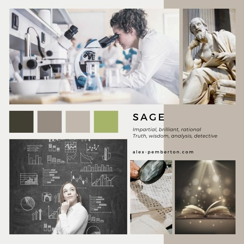 Inspiration board showing the Sage archetype in action
