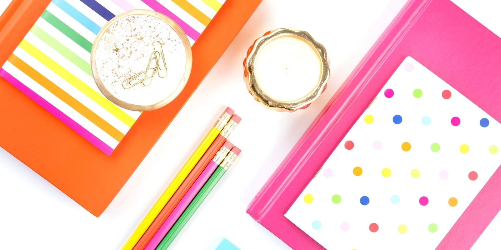 Colorful desktop accessories on a white background