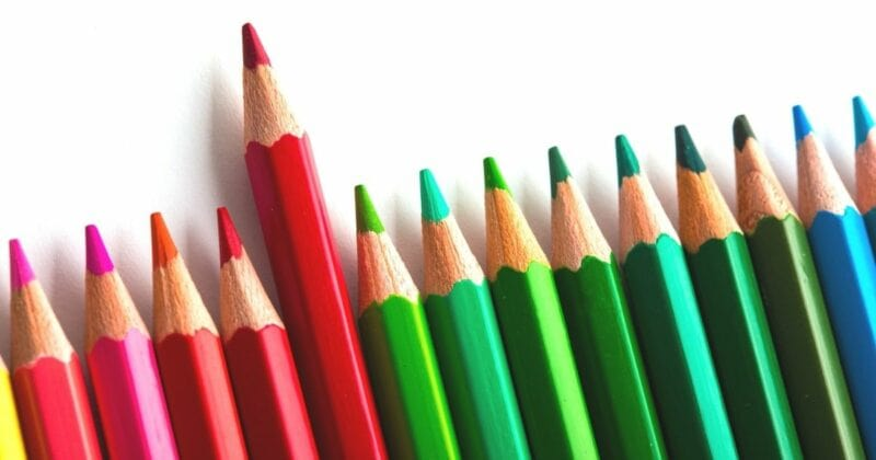 Pencils in colors of the rainbow