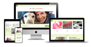 Crafts Crush Cancer website shown on four different screen sizes