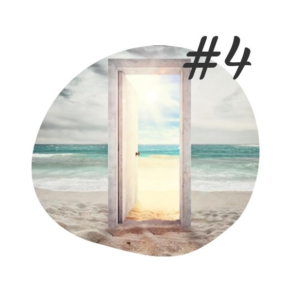 #4 - Delivery - composite image of an open door in a beach setting, with sun streaming in through the door