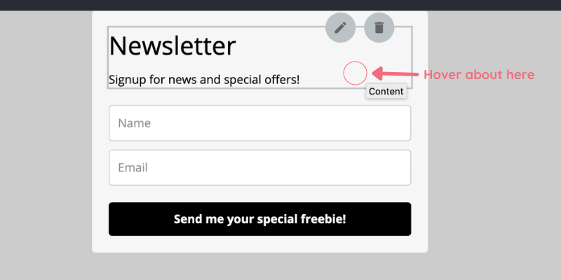 Mailerlite form screenshot showing where to hover