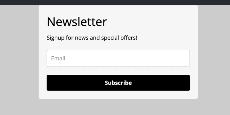 Mailerlite form as it appears by default