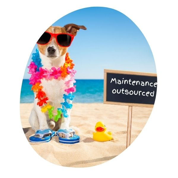 "Dog vacationing on the beach, with a sign that reads ""Maintenance outsourced"""