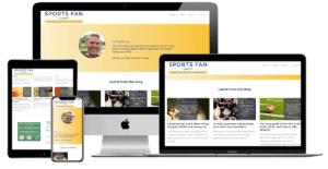 Sports Fan Coach website shown on four different screen sizes
