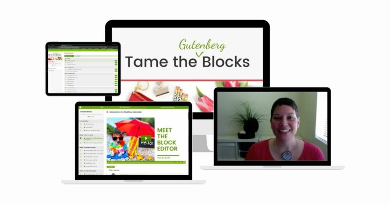 Tame the Blocks shown on a mockup of a desktop, two laptops, and an iPad